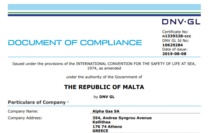 Document of Compliance issuance